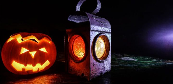 Scary Halloween Pumpkin and Lantern