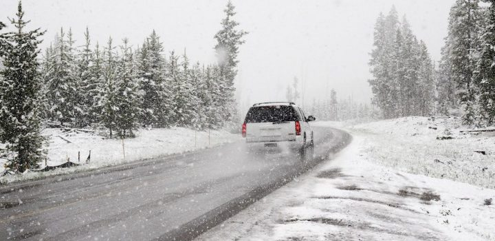 SUV Driving in The Snow