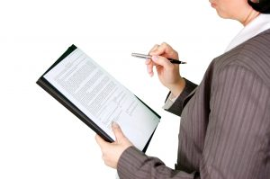businesswoman with contract